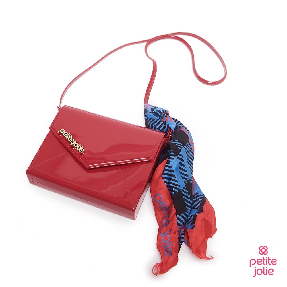 Petite Jolie--絲巾裝飾果凍信封包-酒紅