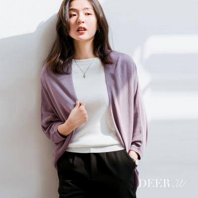 DEER.W 開襟飛鼠袖冰絲針織外套(深紫)
