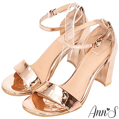 Ann'S不踩雷美腿製造機一字帶涼鞋-寬帶8公分高跟-玫瑰金