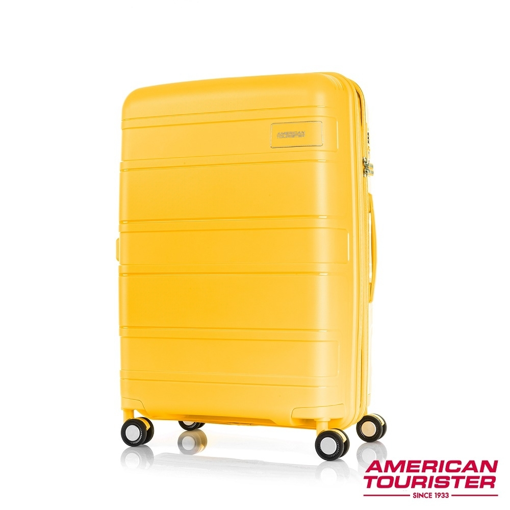 AT美國旅行者 25吋Litevlo極輕量耐衝擊飛機輪PP可擴充硬殼行李箱(芥末黃)