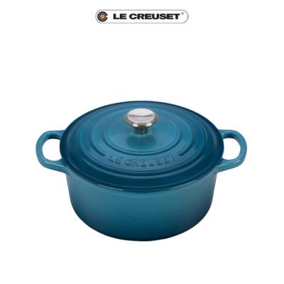 LE CREUSET典藏琺瑯鑄鐵圓鍋18cm(水手藍)鋼頭