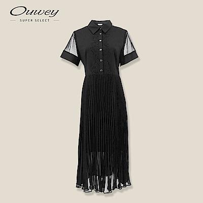 OUWEY歐薇 微透膚壓褶雪紡洋裝(黑)