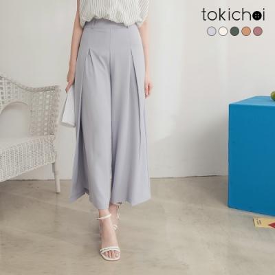 東京著衣 長腿歐膩前打褶側開岔高腰多色西裝寬褲-S.M.L(共五色)