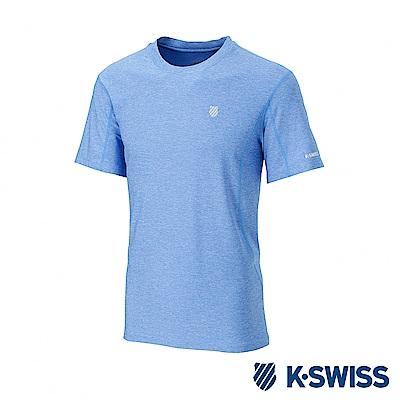 K-SWISS  PF Melange Tee排汗T恤-男-寶藍