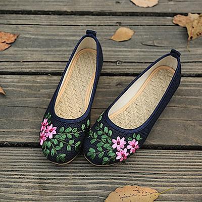 KEITH-WILL時尚鞋館 亞麻刺繡軟Q好穿鞋-藍色