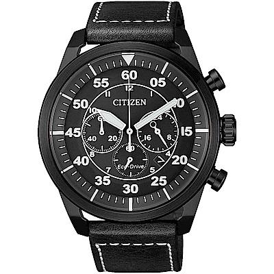CITIZEN星辰 光動能 領航新貴計時手錶(CA4215-21H)-黑/45mm