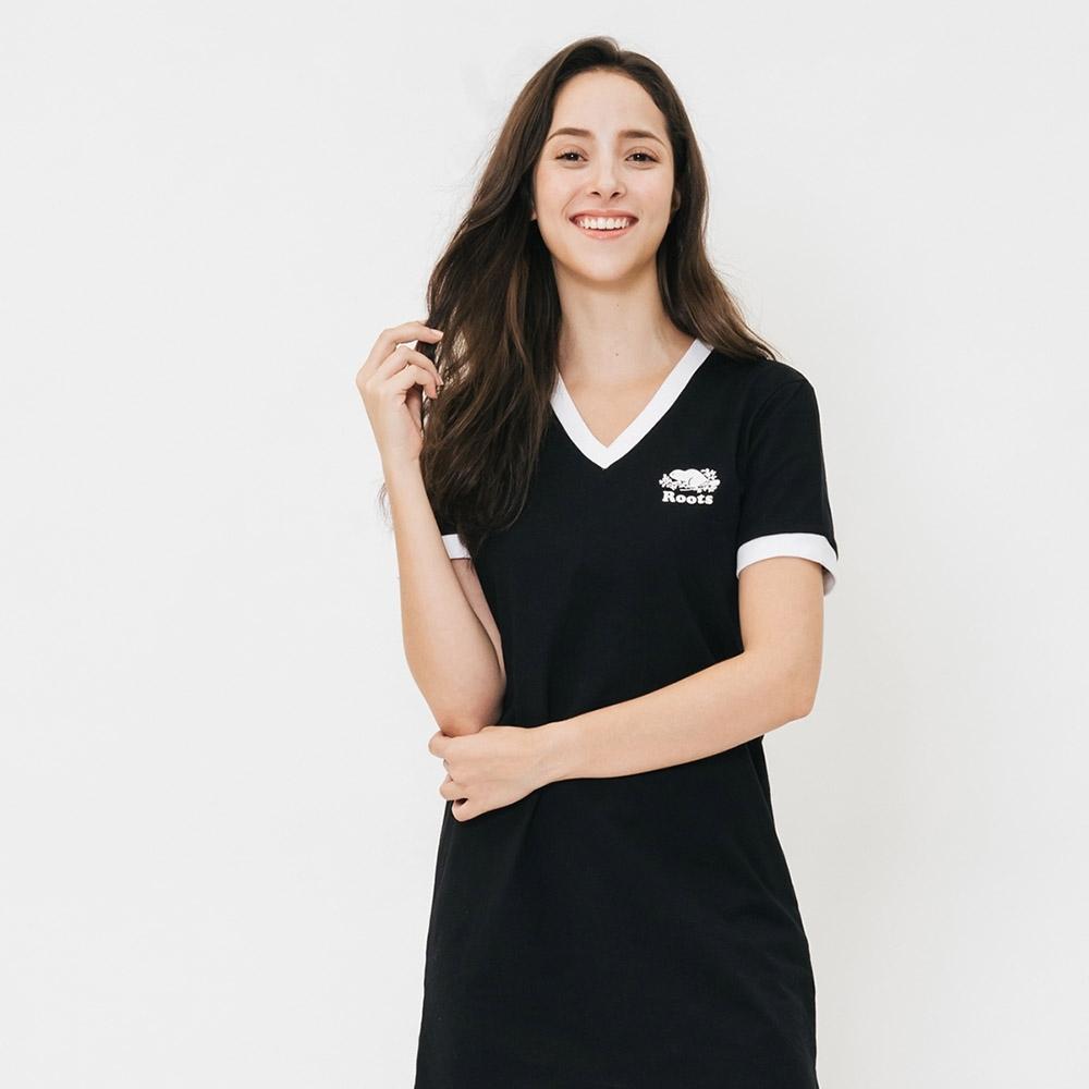 ROOTS 女裝- V領厚棉短袖洋裝-黑