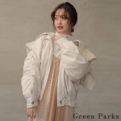 Green Parks 外翻拉鍊式連帽抓皺造型MA-1外套