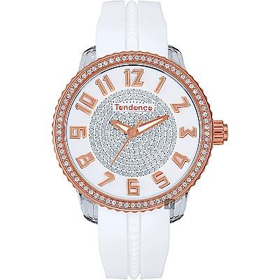 Tendence 天勢 立體晶鑽休閒手錶-玫瑰金框X白/42mm TY930109