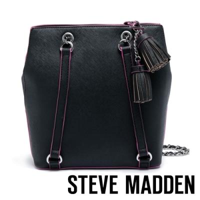 STEVE MADDEN-BCAPRI-B-真皮壓紋手提包-黑色