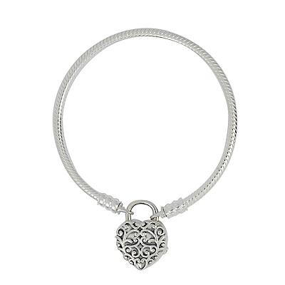 Pandora 潘朵拉 雕花愛心釦環 蛇環純銀手鍊手環