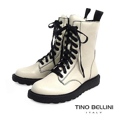 Tino Bellini 率性兼具舒適柔軟真皮軍靴 _ 米白
