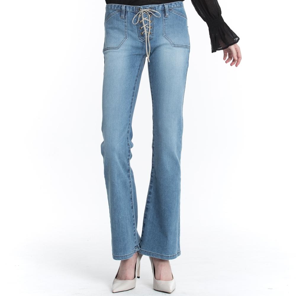 BLUE WAY ET BOiTE 箱子-低腰皮繩刷色靴型褲