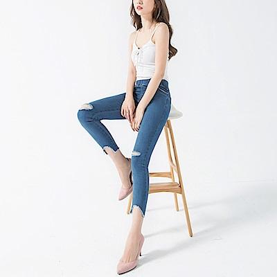 腰圍鬆緊破壞設計抽鬚滾邊彈性窄管牛仔褲-OB大尺碼