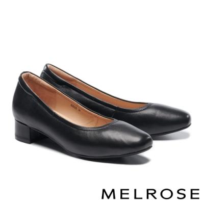 低跟鞋 MELROSE 經典極簡純色素面全羊皮低跟鞋-黑