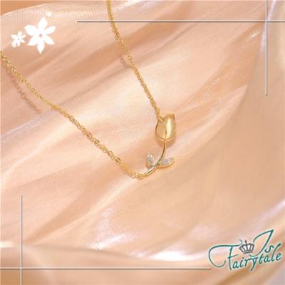 iSFairytale伊飾童話 光澤鬱金香 貓眼石水鑽典雅項鍊