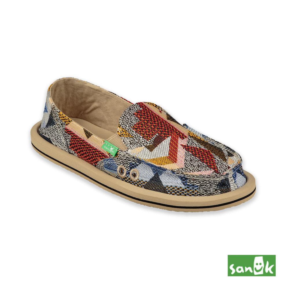 SANUK-DONNA GEO PATCH 繽紛幾何造型懶人鞋-女款(紅藍色)