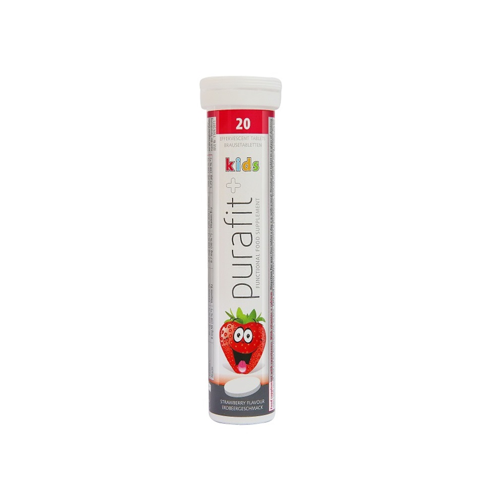 德國Purafit 鈣+維他命C 綜合B群草莓發泡錠(90g/20錠)