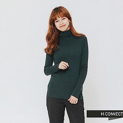 H:CONNECT 韓國品牌 女裝-修身高領針織上衣-綠