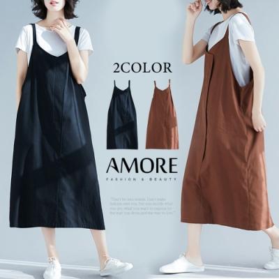 【Amore】日韓文青感棉麻吊帶裙