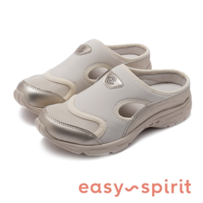 Easy Spirit-seBOW3-A 特選時尚金色側挖空透氣休閒拖鞋-金銅