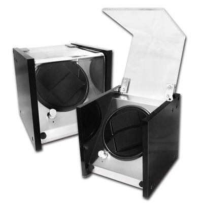 機械錶自動上鍊收藏盒 1旋2入錶座轉動 壓克力 - 黑色