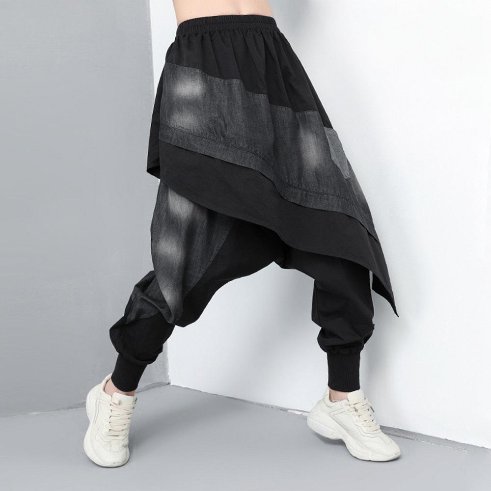 假兩件拼接牛仔水洗休閒褲裙-F-CLORI