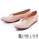 Fair Lady 有一種喜歡是早秋-紳士風V字平底鞋 粉