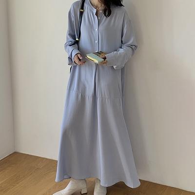 【KISSDIAMOND】荷葉下擺排扣襯衫洋裝(KDD-4441)