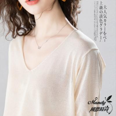 Mandy國際時尚 短袖上衣 氣質薄款寬鬆V領針織上衣(7色)