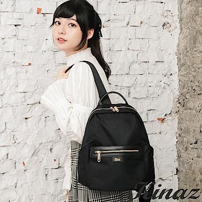 KINAZ casual 大容量防潑水手提後背包-極致深黑-輕甜漫遊系列