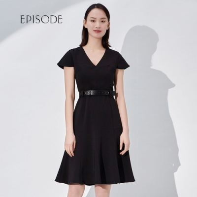 EPISODE - 知性優雅V領腰帶設計短袖洋裝(黑)