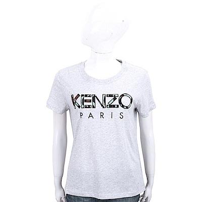 KENZO 補丁豹紋印花字母灰色棉質短袖T恤