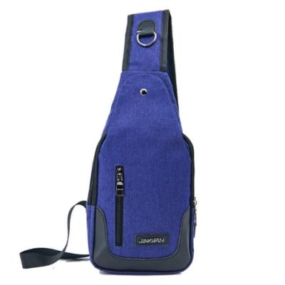 I.Dear-戶外時尚男女休閒旅行USB充電側拉鍊胸前斜背包(BG81藍色)
