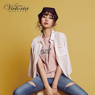 Victoria 蕾絲珍珠口袋長版七分袖襯衫-女-白色