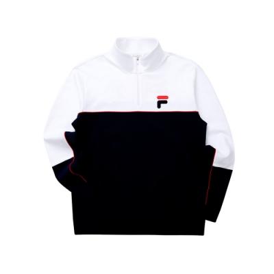 FILA 男長袖半門襟T恤-丈青 1TET-5446-NV