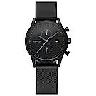 TAYROC 英式風尚米蘭帶計時手錶-黑X藍針/42mm
