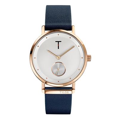 TYLOR夢想時尚T字時刻腕錶-深藍色(TLAJ004)/34mm