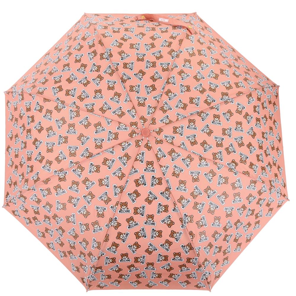 MOSCHINO 滿版泰迪熊自動摺疊晴雨傘(橘粉)