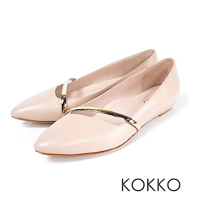 KOKKO - 輕奢女神金屬尖頭楔型真皮鞋-裸