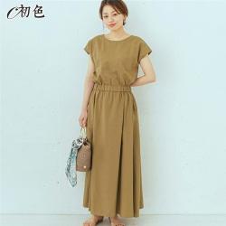 初色  簡約棉麻套頭洋裝-共5色-(M-2XL可選)