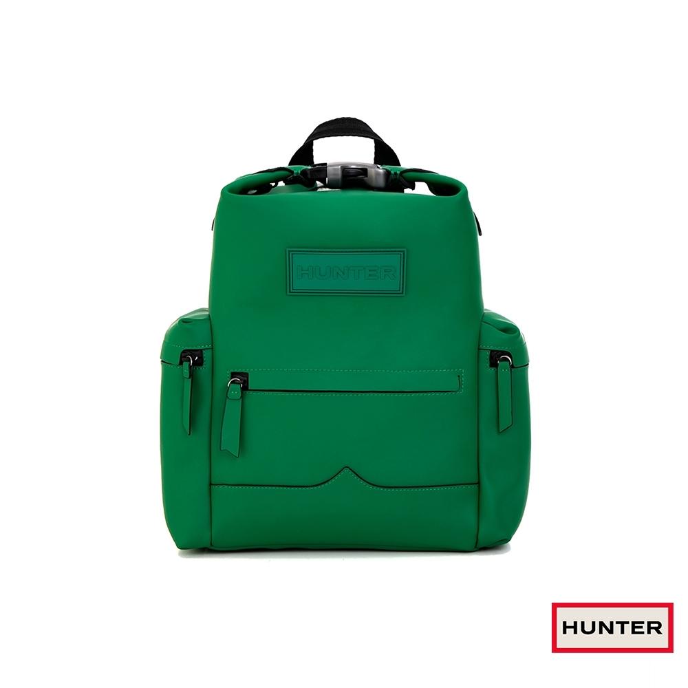 HUNTER - ORIGINAL上方開扣橡膠塗層皮革中型後背包 - 綠