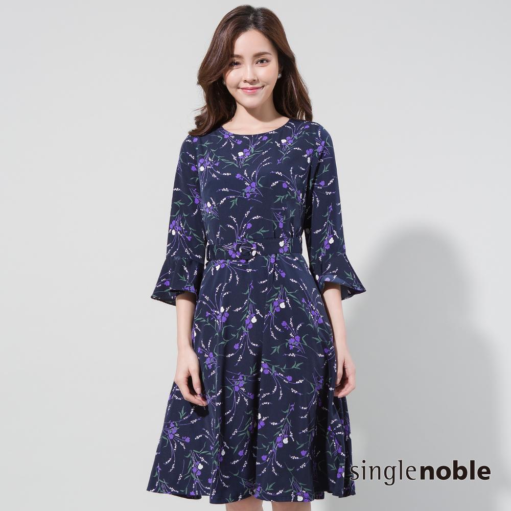 獨身貴族 莫內花園荷葉袖腰帶雪紡洋裝(2色)