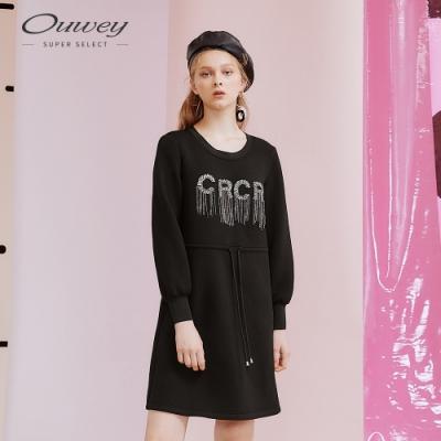 OUWEY歐薇 英文字母流蘇休閒風太空棉洋裝(黑)