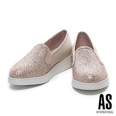 休閒鞋 AS 奢華時尚晶鑽造型全真皮厚底休閒鞋-粉