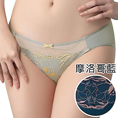 思薇爾 唯美女神系列M-XL蕾絲低腰三角內褲(摩洛哥藍)