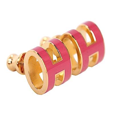 HERMES Pop H LOGO 經典圓弧設計耳環(覆盆莓x金)
