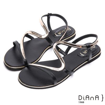 DIANA 簡約韓風--金屬S曲線細帶平底涼鞋 –黑
