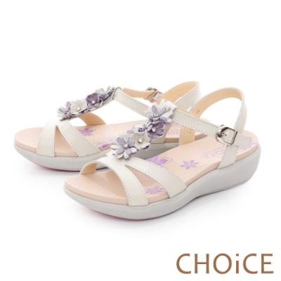 CHOiCE 嚴選牛皮花朵點綴厚底 女 涼鞋 米色