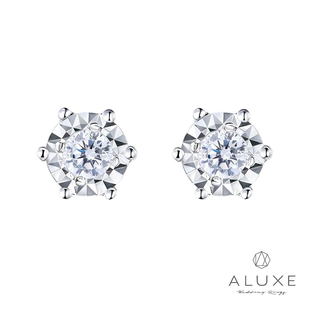 ALUXE 亞立詩 18K 0.12克拉雙倍顯鑽 鑽石耳環